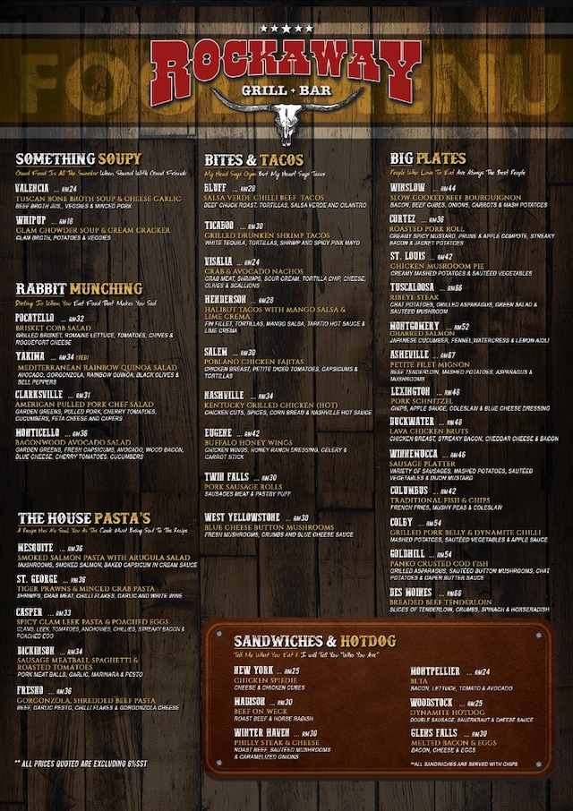 Rockaway Grill and Bar Menu