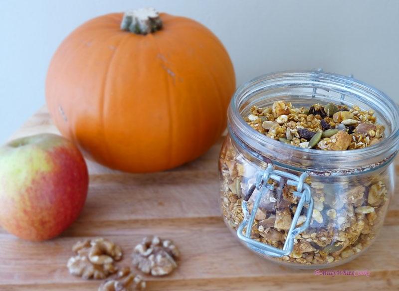 Gluten Free Spiced Pumpkin, Apple & Walnut Granola