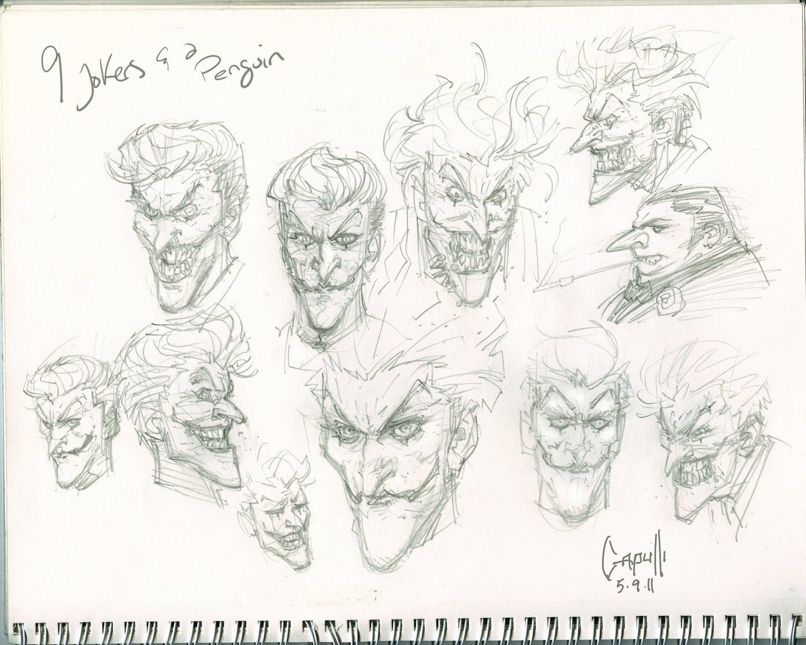 No One Equals Doom Capullo Joker Penguin Sketches