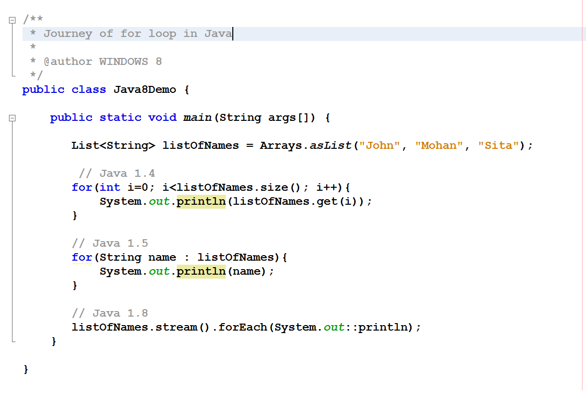 Java 8 - Journey of for loop in Java, for(index) to forEach()