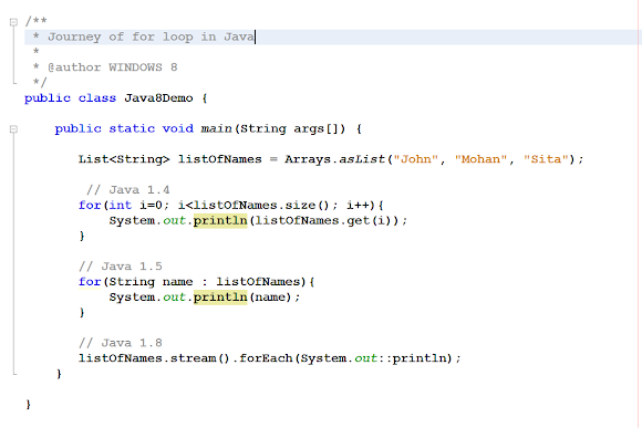 for loop changes in Java 1.4, 5 and 8