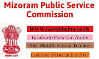 Mizoram Public Service Commission Recruitment 2017– 60 Middle School Teacher