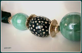 naszyjnik zielony, porcelana ceramika Bolesławiec