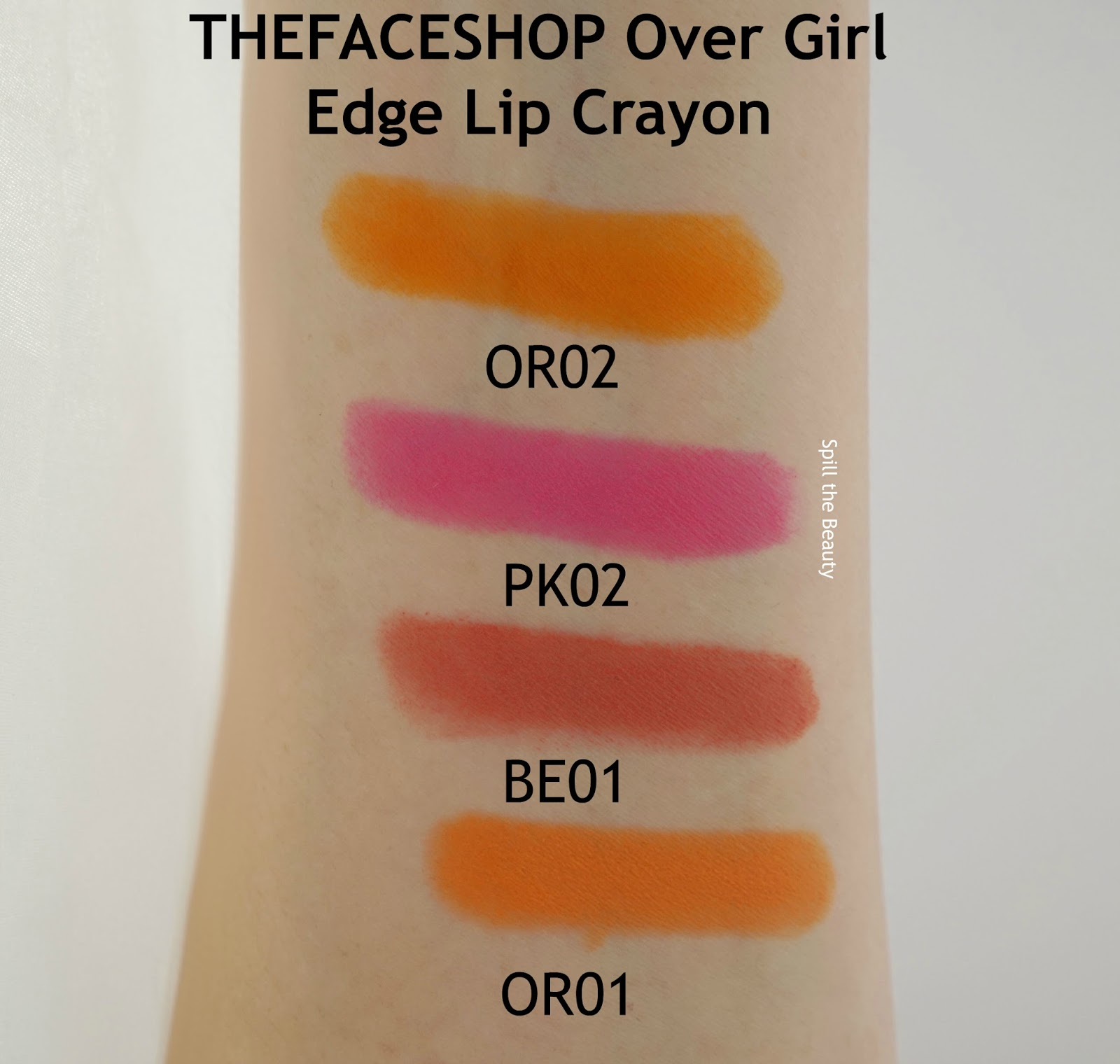THEFACESHOP over girl edge lip crayon be01 or01 or02 pk02 arm swatches