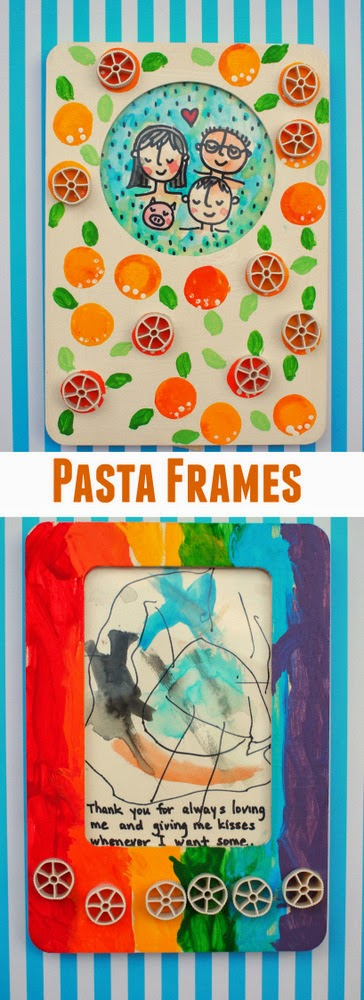 pasta and painted picture frames- easy diy gift for kids to make with their parents!