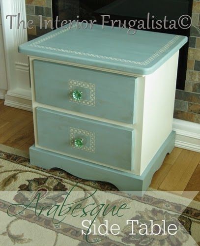 Pine Table Makeover with Arabesque Stencil