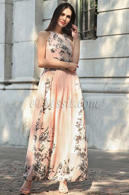 Long Halter Printed Summer Dress Holiday Dress