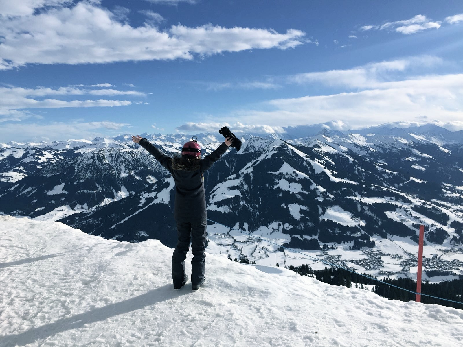 Standing at the top of the mountain in Austria