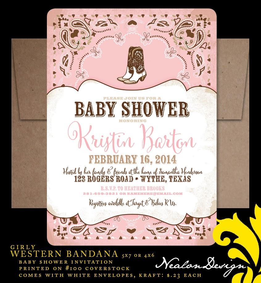 Nealon Design Western Bandana Baby Shower Invitation