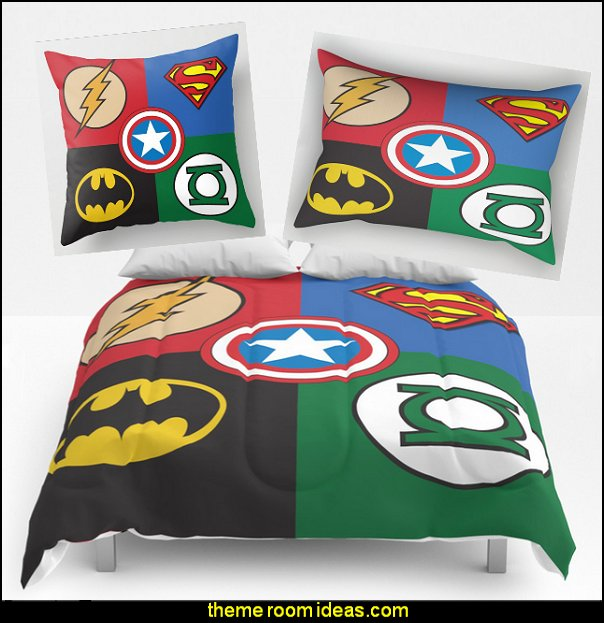 Superhero Logos Bedding