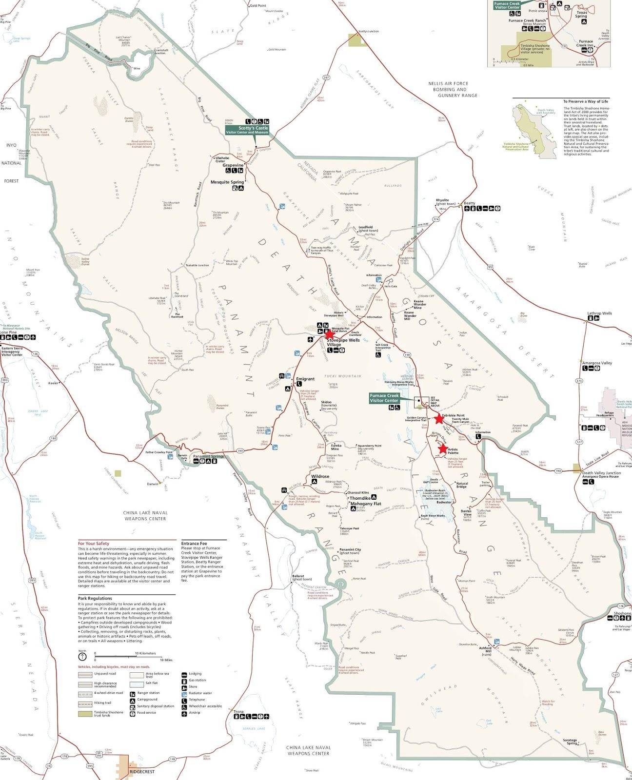 Carte de la Death Valley