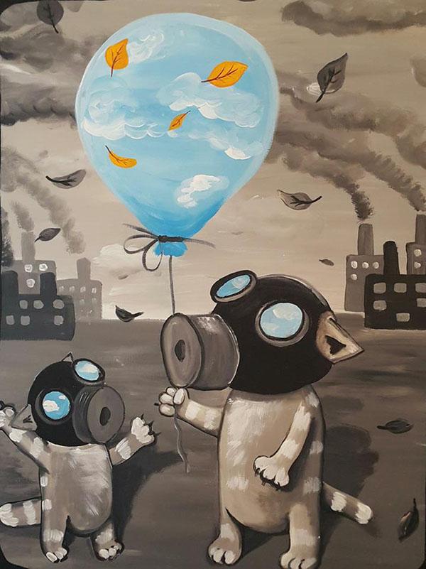 Коты в противогазах с воздушным шариком | Вася Ложкин