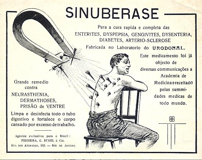 Propaganda antiga do remédio Sinuberase com uma imagem assustadora para promover o fim das dores