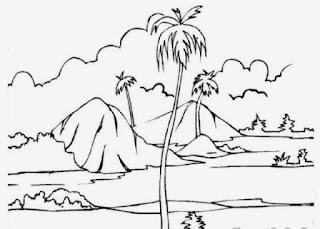 Sketsa Gambar Mewarnai Pemandangan Alam Pantai 3