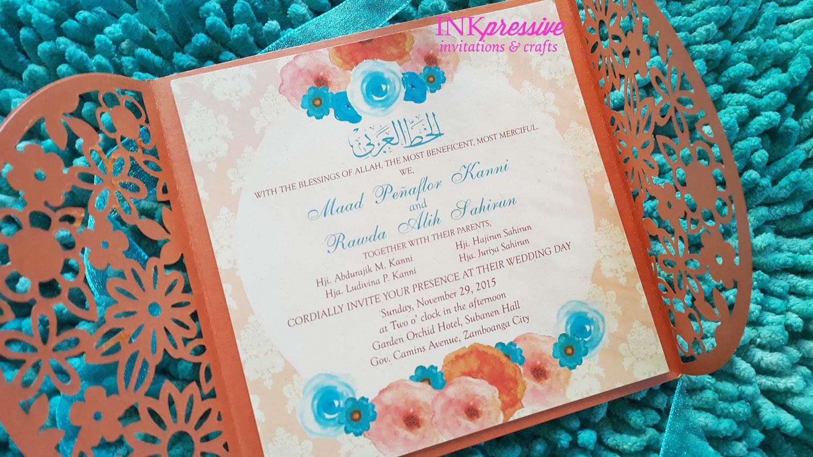 Orange Watercolor Intricate Cut Flower Shower Wedding Invitation ...