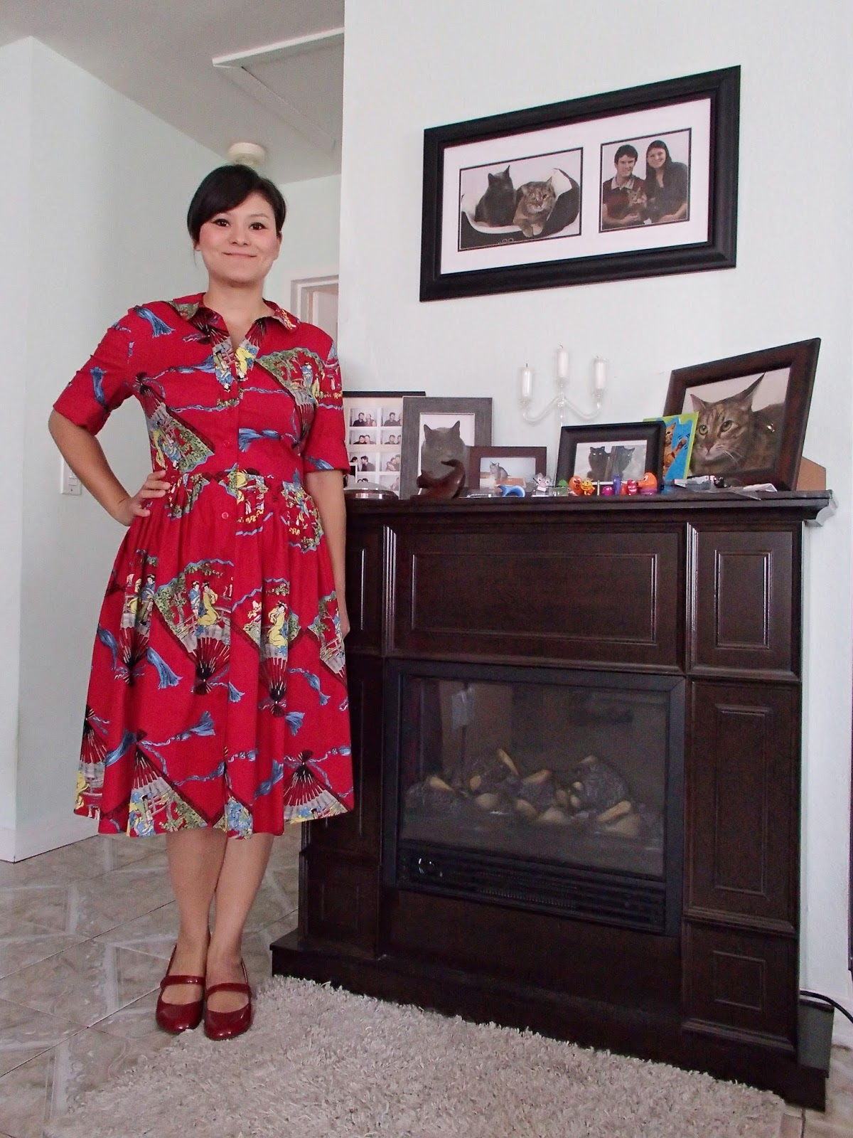 Trashy Diva Virginia Shirtwaist Dress In Red Fans Front View