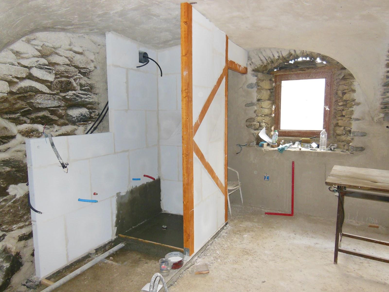 cloison douche beton cellulaire on monte les parois de la douche with cloison douche beton. Black Bedroom Furniture Sets. Home Design Ideas