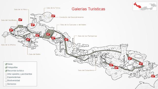 mapa de las cuevas de nerja