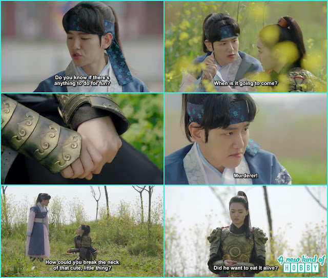 10t Prince with Sun Duk catching a bird and when sun duk strangle the bird neck he called him murderer - Moon Lover Scarlet Heart Ryeo - Episode 8 - Review