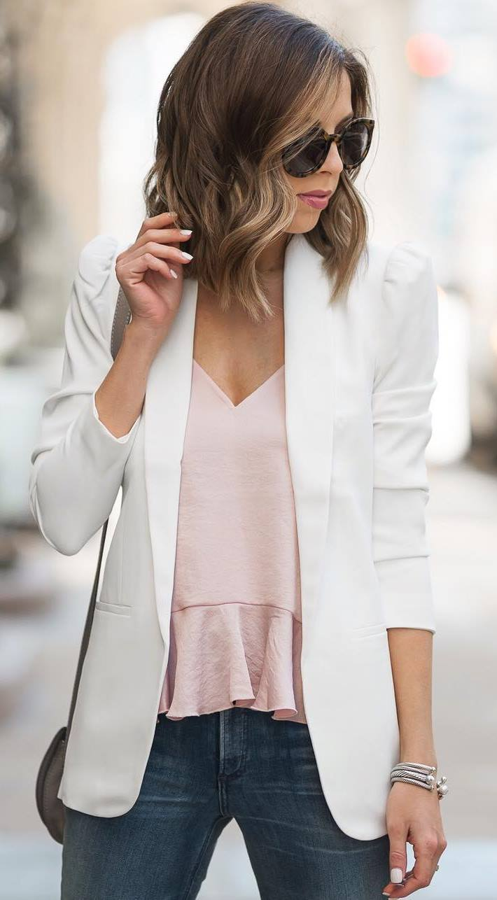 what to wear with a white blazer : pink top + jeans + bag