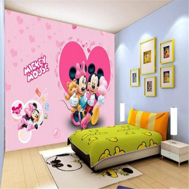 Disney wall mural Mickey mouse minnie wallpaper Pink Children room cartoon