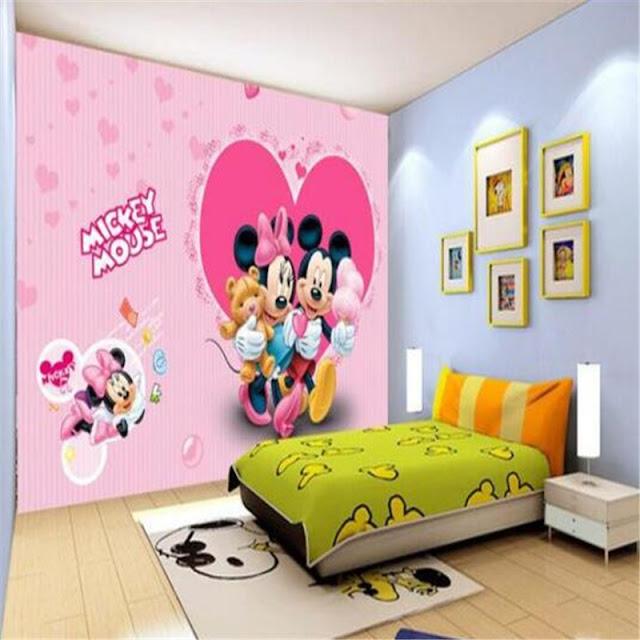 Disney wall mural Mickey mouse minnie wallpaper Pink Children room cartoon