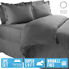 Nestl Bedding 3 Piece Microfiber Duvet Cover Set with 2 Pillow Shams, King, Charcoal Gray
