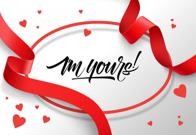 I am yours lettering in oval frame with red ribbons Free Vector