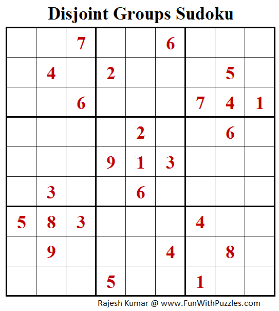 Disjoint Groups Sudoku Puzzle (Fun With Sudoku #256)