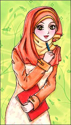 kartun muslimah membawa buku