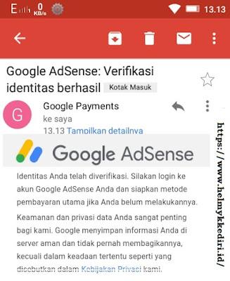 verifikasi id adsense berhasil