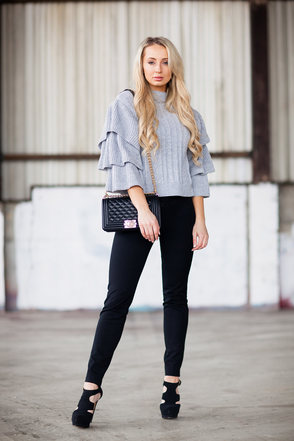 Cable Knit Sweater with Tiered Flare