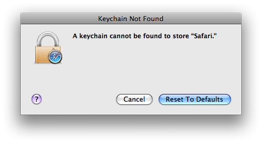 Reset Default Keychain-Safari Keychain Pop up