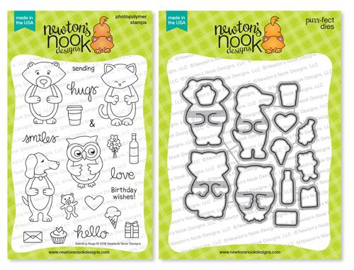 Sending Hugs Stamp Set  and die Set by Newton's Nook Designs #newtonsnook #handmade