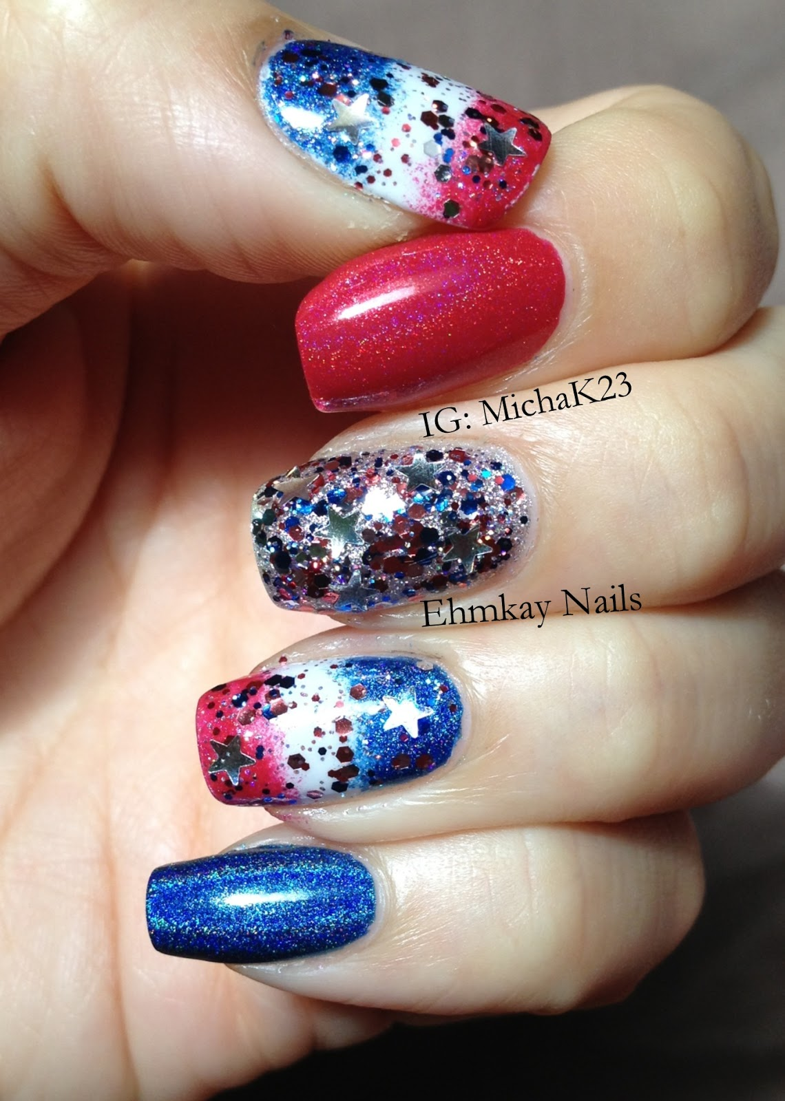 ehmkay nails: Happy Fourth of July! Quick Patriotic Nail Art