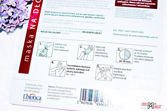 L'biotica, Peelingująca maska na dłonie w formie rękawiczek.  | Instrukcja stosowania