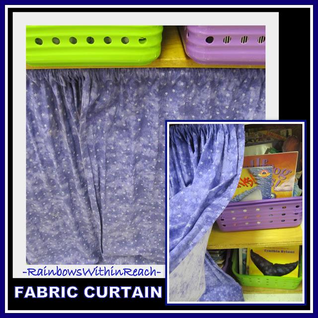 Fabric Curtain in Classroom to Help Organize Space (Classroom Organization RoundUP via RainbowsWIthinReach)