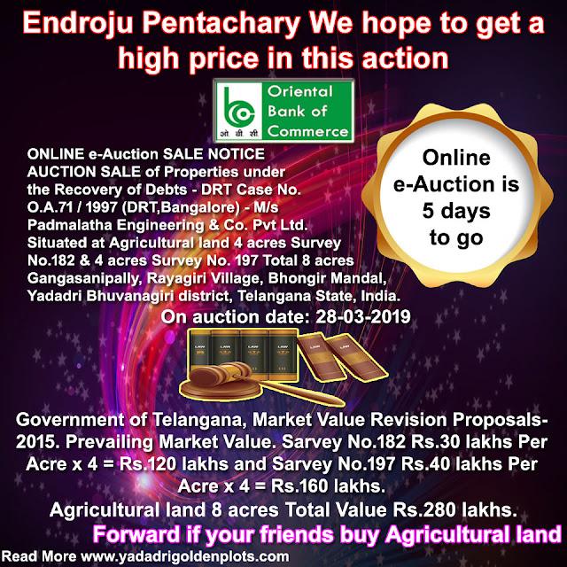 DRT-1 Hyderabad Online e-Auction Sale Date: 23-03-2019