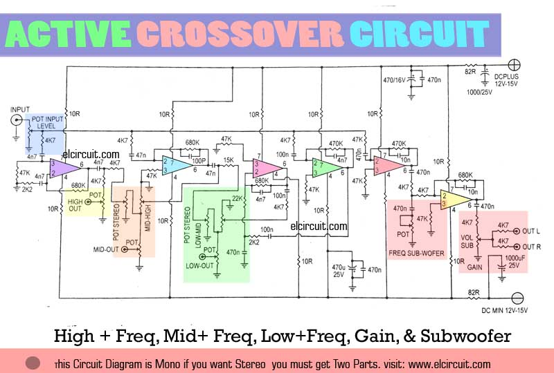 active crossover circuit uses lm741 electronic circuit rh elcircuit com crossover circuit diagram speaker audio crossover circuit diagram