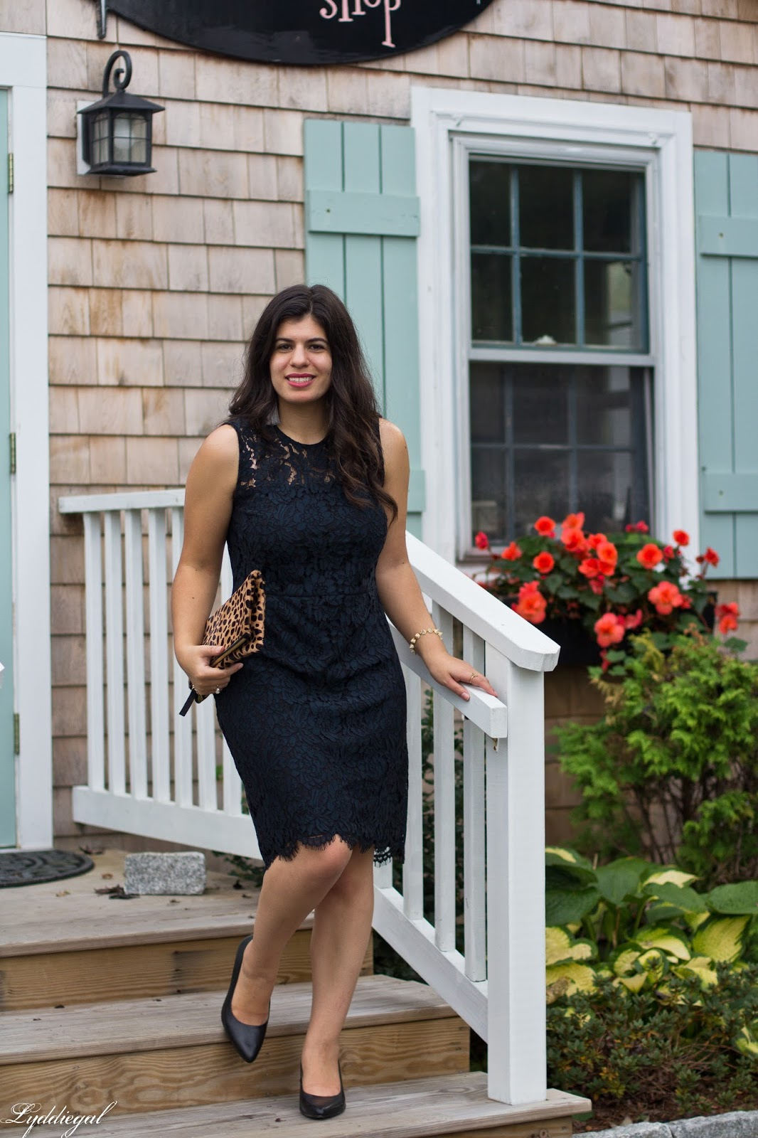 Banana republic black lace sheath dress