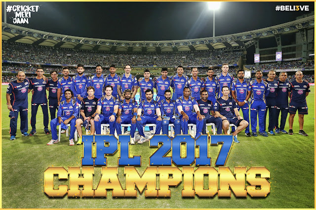 Mumbai Indians lift IPL 10 winner's trophy,