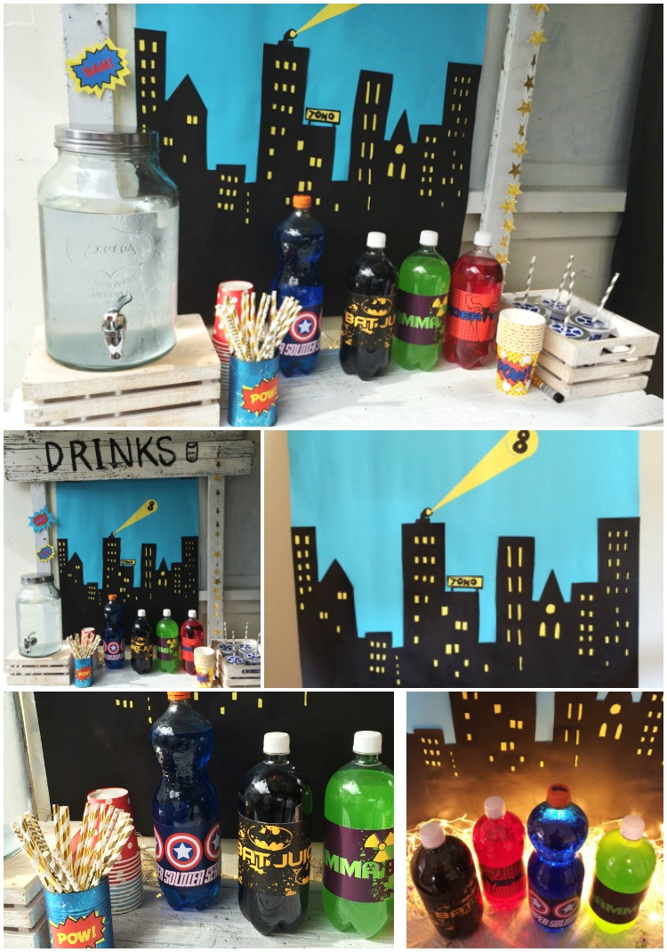 Super Hero Drinks Stand - with themed soda