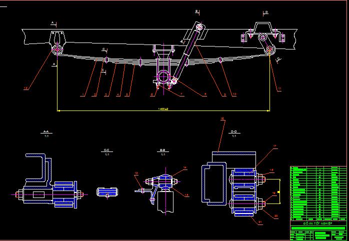 Bản vẽ hệ thống treo cho xe du lịch 7 chỗ