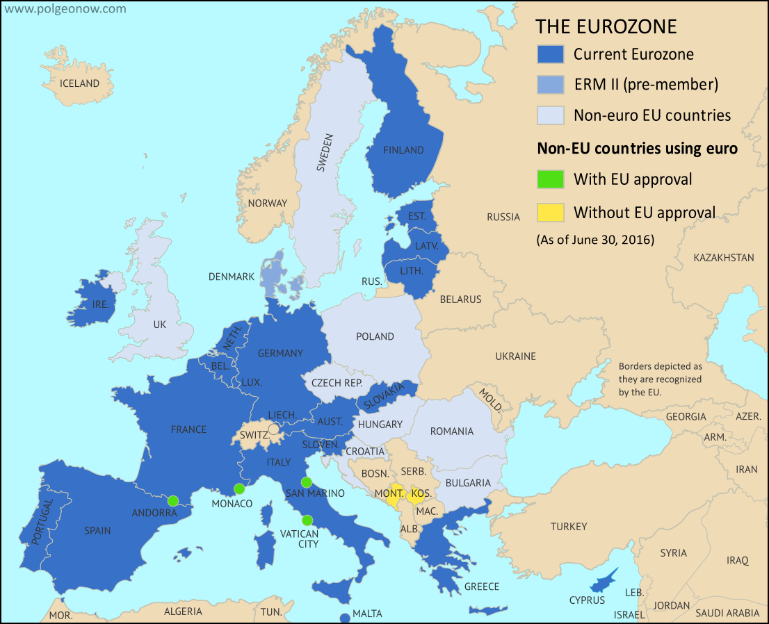 Map of the Eurozone (euro area), showing which countries use the euro as their currency. Includes members, pre-members (ERM II), EU non-members using the euro, and other EU countries (color blind accessible).