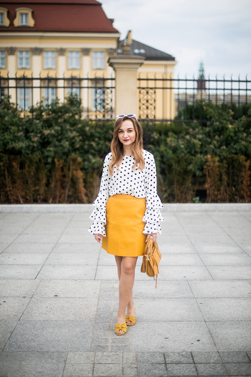 THINK YELLOW – YELLOW SKIRT & POLKA DOT BLOUSE