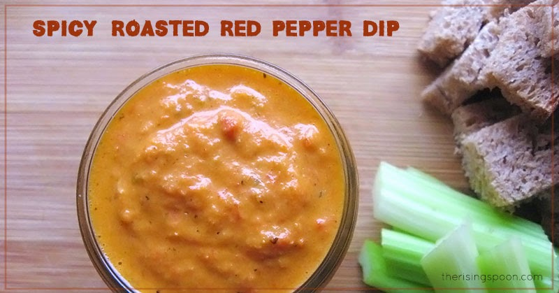 Spicy Roasted Red Pepper Dip | therisingspoon.com