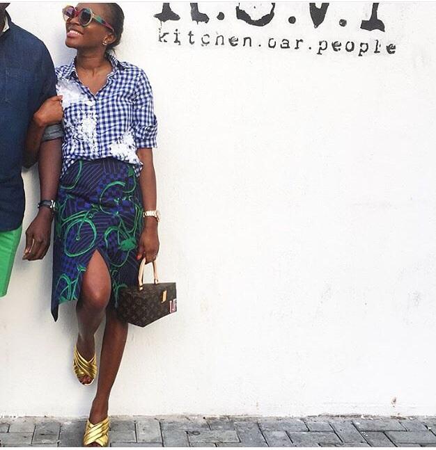 0847b74a0 Glowy: Lisa Folawiyo Rerocking Her Gucci Webby Quilted Leather Mule ...