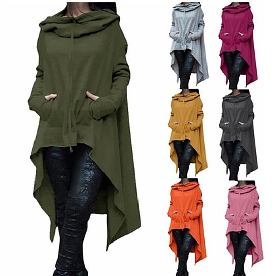 Long Sleeve Loose Casual Poncho Coat (Small-5X)