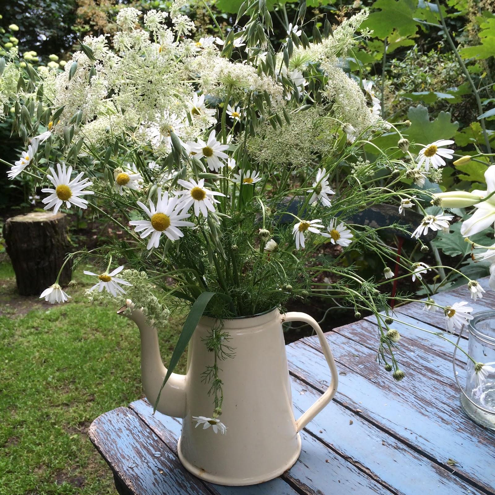 Fru Pedersens have: Vilde blomster i kaffekanden, og kattekillinger.