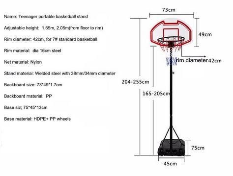 Tinggi Ring Basket Dari Lantai untuk Putra dan Putri